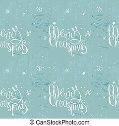 Merry christmas phrase on frosty blue seamless background