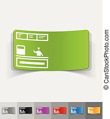 realistic design element cash desk - cash desk paper sticker...