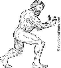 Hercules pushing isolated on white - hand drawing...
