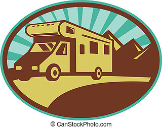 Camper van traveling with mountains and sunburst in the...