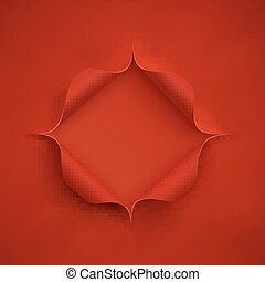 Hole in red paper.