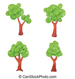 Abstract plasticine trees - Plasticine trees on white...