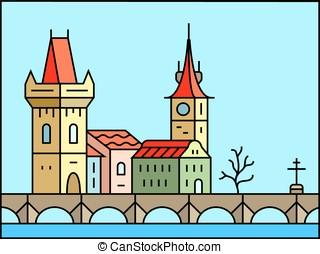 Prague cityscape icon - Prague morning icon. Old Prague -...