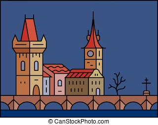 Prague cityscape icon - Prague at night Old Prague - Charles...