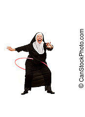 Nun playing with plastic hoop - Playful nun on white with...