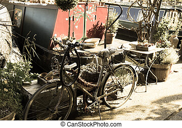 Vintage Canal Boat Lifestle with Bicycle
