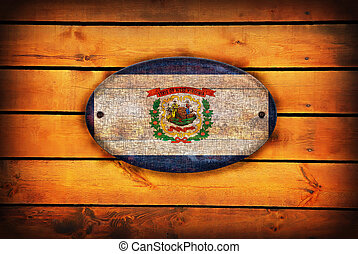 A wooden West Virginia flag - West Virginia flag on brown...