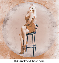 Happy american style pin-up girl on retro chair - Full...