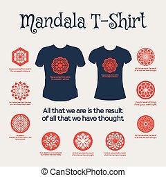 Vector Mandala T-Shirt - Asian religious circular ornaments....