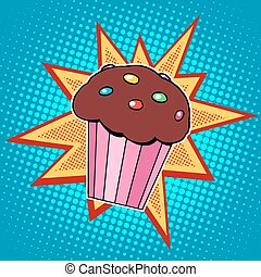 Muffin cake sweet food pop art retro style. Childhood and...