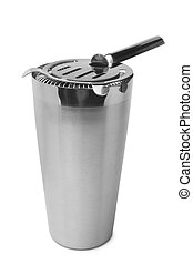 Shaker with cocktail strainer on white background