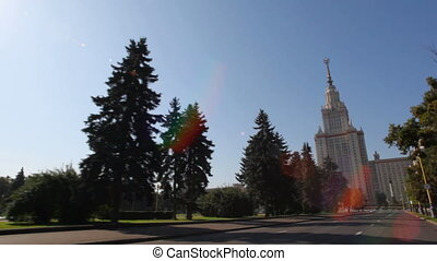 MOCSOW - SEPTEMBER 5: Riding past Moscow State University September 5, 2009 in Moscow, Russia. Time lapse. More than 40 000 undergraduates and about 7 000 postgraduates study at the MSU.