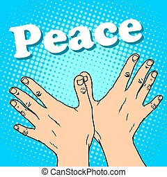 hand gesture dove of peace pop art retro style A symbol of...