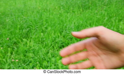 male thumbs up on green grass background