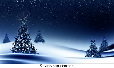 Sparkling decorated Christmas trees - Festive background...