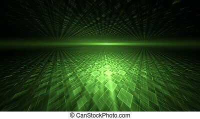 Green Translucent Cubical Horizon - Green geometrical...