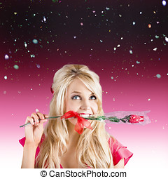 Girlfriend with rose in valentines day confetti - Romantic...