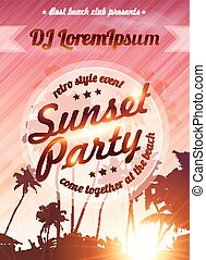 Sunset beach party vector pink poster template - Sunset...
