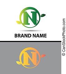 N letter Eco logo