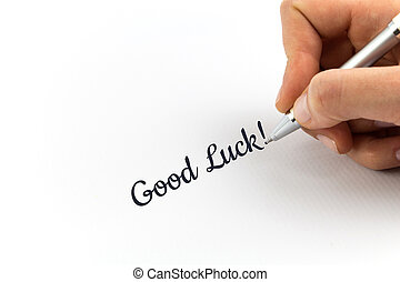 """mano, escritura, """"Good, luck"""", en, blanco, hoja, de, paper.,..."""