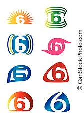 Set of Number six 6 logo icon