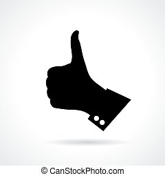 Thumb finger up sign on white background