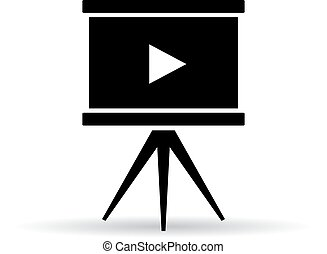 Video screen icon isolated on white background