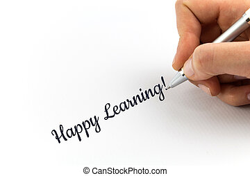 "mano, escritura, ""Happy, Learning!"", en, blanco,..."