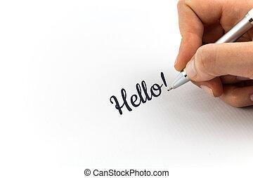 """mano, escritura, """"Hello!"""", en, blanco, hoja, de,..."""