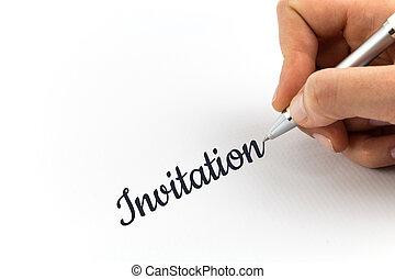 """mano, escritura, """"Invitation"""", en, blanco, hoja,..."""