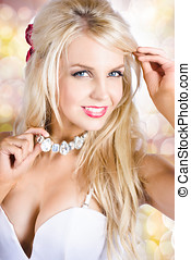 Classy woman wearing diamond jewelry chocker - Breathtaking...