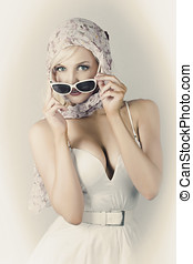 Retro Pin-up Girl In Classic Fashion Style - Depiction Of...