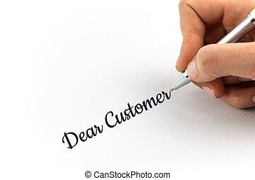 """mano, escritura, """"Dear, Customer"""", en, blanco, hoja, de,..."""