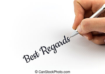 "mano, escritura, ""Best, Regards"", en, blanco,..."