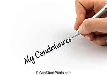 """mano, escritura, """"Condolences"""", en, blanco, hoja,..."""