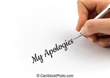 """mano, escritura, """"My, Apologies"""", en, blanco, hoja, de,..."""