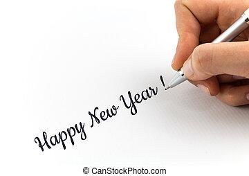 """hoja, papel, year!"""", escritura, """"happy, nuevo, blanco, mano..."""