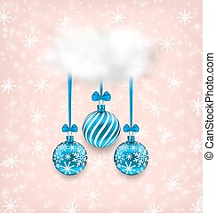 Christmas Elegance Card with Balls and Cloud