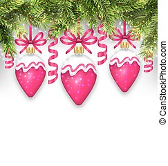 Fir Branches and Christmas Pink Balls