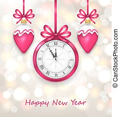 New Year Midnight Glowing Background with Clock
