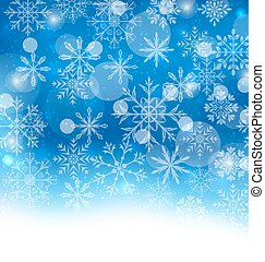 Winter Blue Background with Snowflakes - Illustration Winter...