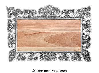 木制, 背景, 白色, 被隔离, 簽署