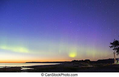 Green stunning lines of the Northern Lights - Seaside aurora...