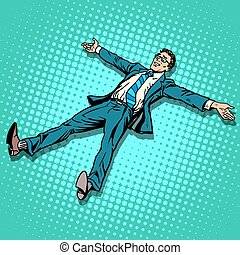The businessman is resting with outstretched arms and legs...