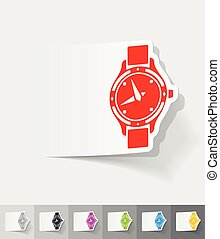 realistic design element. watch - watch paper sticker with...