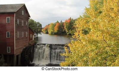 Autumn Waterfall by an old Mill - Waterfall with Autumn...