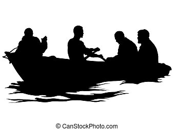 Boat whit people - Silhouette of retro ship on white...