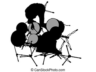 Drum kit and man - Drum kit for rock band on a white...