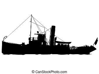Retro boat - Silhouette of retro ship on white background