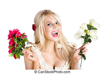 Thankful woman with fresh flower love - Excited young blond...